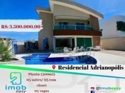 Residencial Adrianópolis 5 suítes 3 com closet / piscina (fino acabamento)