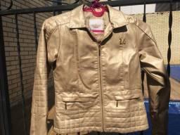 Jaqueta de couro dourada feminina infantil Milon