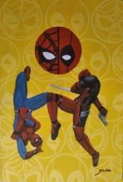 Cuadro homem aranha e Deadpool poster decorativo