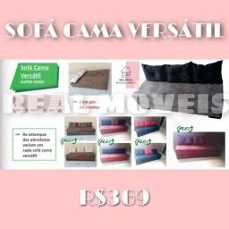 Sofá cama Simples marrom com almofada