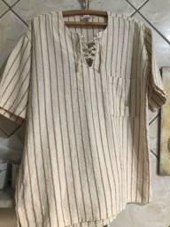 Título do anúncio: Camisa e calça em linho, na cor bege
