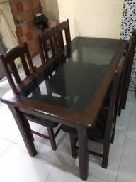 disponível Mesa de vidro madeirada