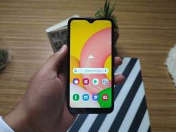 Samsung A01 vermelho com carregador
