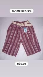 Shorts brim infantil masculino com cinto