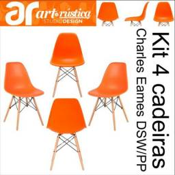 Kit 04 cadeiras Eames Wood DSW/PP - Laranja - Garantia + NF