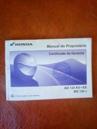 Manual do proprietário Honda BIZ 125 KS. ES. BIZ 125+