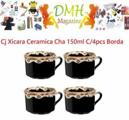 Cj Xicara Ceramica Cha 150ml C/4pcs Borda