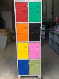 Armário roupeiro de aço 12 portas colorido