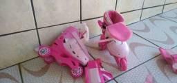 Patins infantil n 26 ao 30 ajustável na cor rosa três rodas
