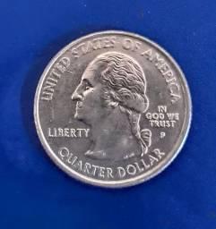 Moeda americana RARA quarter dollar Wyoming 1890 / 2007