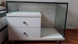 Título do anúncio: Mesa de cabeceira de vidro e duas gavetas espaçosas