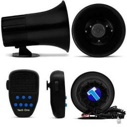 Sirene tipo polícia 7 sons + microfone instalação grátis