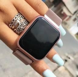 SmartWatch p70 com pulseira metal Rosa ( Relógio novo )