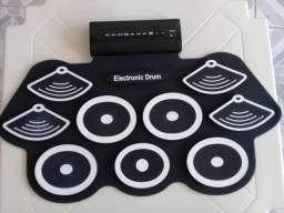 Bateria Eletronica Musical Portátil Com Pedal e Baqueta