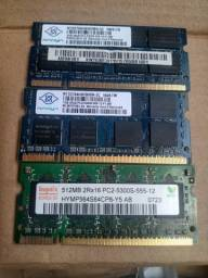 Memórias P/ Notebook DDR2 de 2GB, 1GB e 512mb