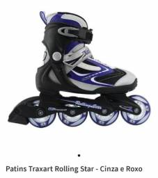 Roller - Patins Traxart Rolling Star - Cinza e Roxo