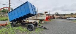 Carreta basculhante hidraulica, graneleira para trator / tratores