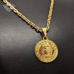 Corrente Medusa + Anel Cravejado + Pulseira Dourada