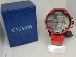 Relógio Cagarny Metal Red