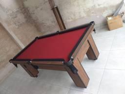 Mesa Charme Semi Cor Imbuia Tecido Vermelho e Borda Preta Mod. BSAE0903