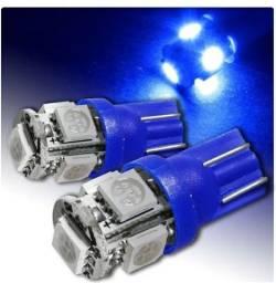 Lâmpada Pingo T10 5 Leds Azul Teto Farol