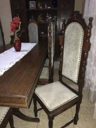 Conjunto sucupira raridade mesa, 8 cadeiras e armário