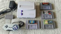 Super Nintendo Completo + Mario world Original + 3 Jogos