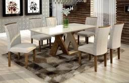 Conjunto com Mesa com 6 Cadeiras Belle da Cell Móveis (NOVA) #Entrega e Montagem Gratis