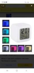 Relógio Luminaria Luz 5x1 Cubo Despertador<br><br>