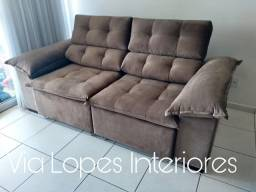 Sofa com pilon de 2.50 retratil e reclinael aqui na via lopes 62 9  *