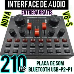 Título do anúncio: Nova Interface de Áudio V8-S Placa de Som Bluetooth Usb-P2-P10. Entrega Gratis.