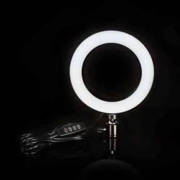 Iluminador RING LIGHT 26 cm com triple + suporte frontal.