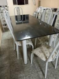 Mesa tubular c/ 08 cadeiras branca