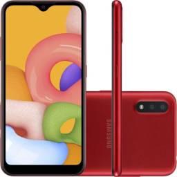 Smartphone Samsung A01 32Gb Preto, Vermelho e Azul