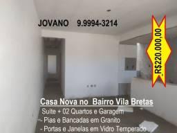 Casa Nova c/ Suite + 02 Quartos, Área e Garagem - Vila Bretas