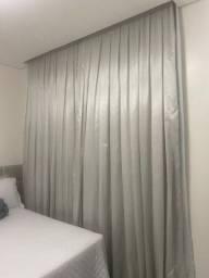 Par cortinas prega macho cinza