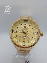 Relógio de pulso masculino original naviforce modelo 9090 data funcional resistente a água