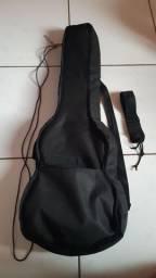 Kit Capa bag case para guitarra acolchoada com cabo p10 e correia