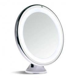 Espelho dupla face maquiagem redondo led bc-1007