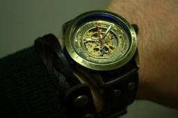 Relógio Automático Bronze Couro Imponente Skeleton Novo