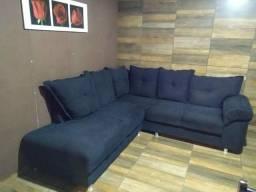 Vendo sofá usado de canto Preto Chenile
