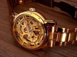 Relógio Mecânico Skeleton Gold Luxo Pronta Entrega