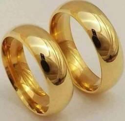 Alianças banhadas a ouro 22k