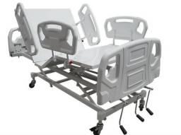 Cama Hospitalar Fawler 3 Movimentos Com Cabeceira e Grades Injetada