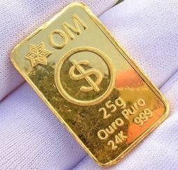 Mais barato que na Ourominas - Barra de Ouro Puro 999 24k com 25 Gramas
