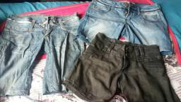 3 shorts jeans por 10 reais