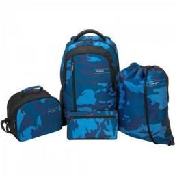 Kit camo targus mochila + estojo + bolsa termica + sacochila bus89102 azul
