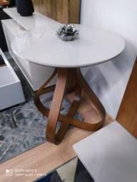 Usado, Mesa de canto bella laqueada no cor off white tampo de vidro comprar usado  Belo Horizonte
