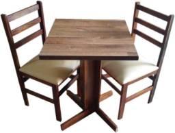 Conjunto de Mesa com 2 Cadeiras com Tampo Laminado Rustico