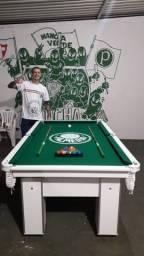 Mesa Charme Carlin Cor Branca Tecido Verde Logo Palmeiras Mod. GEGH7209
